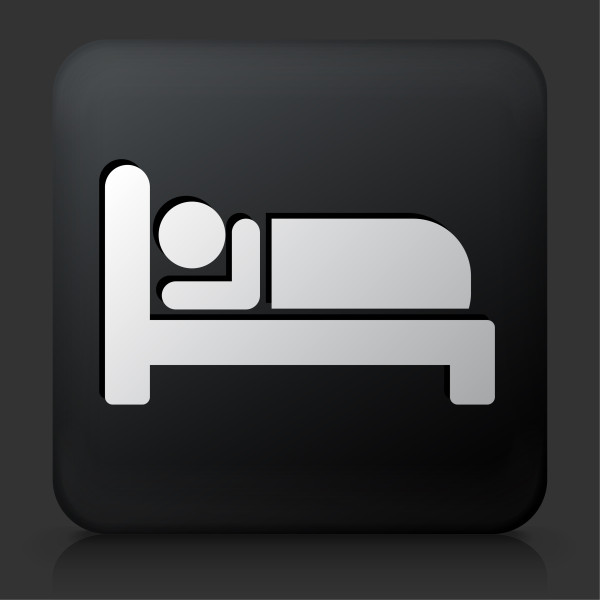 Black Square Button with Sleeping Icon